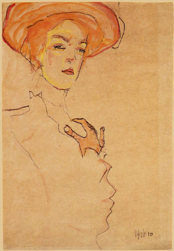 Egon Schiele - Portrait of a lady with a orange hut