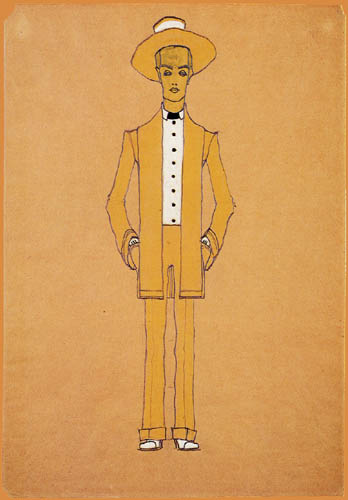 Egon Schiele - Fashion design, yellow suit and hat