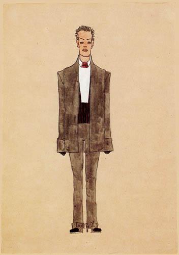 Egon Schiele - Modenentwurf: Grauer Anzug