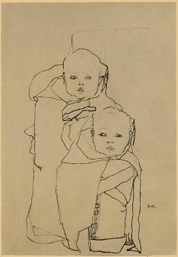 Egon Schiele - Bildnis von zwei Kleinkindern