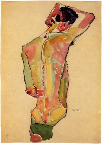 Egon Schiele - Sitzender, männlicher Rückenakt