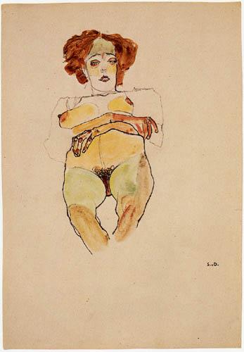 Egon Schiele - Sitzender, schwangerer Akt