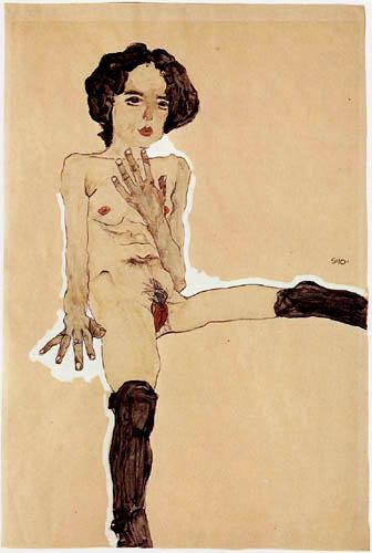 Egon Schiele - Sitzender Mädchenakt mit schwarzen Strümpfen