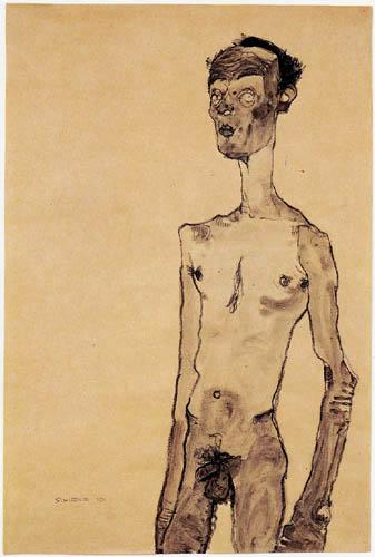 Egon Schiele - Stehender, männlicher Akt