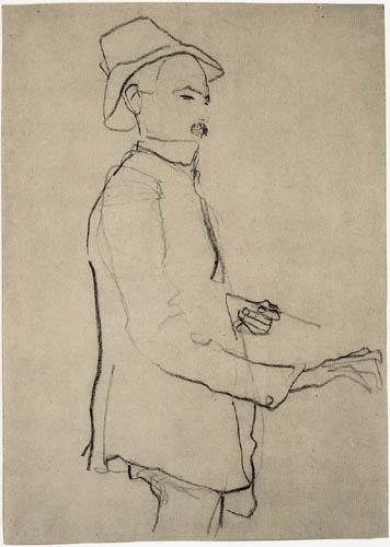 Egon Schiele - Stehender Mann mit Hut