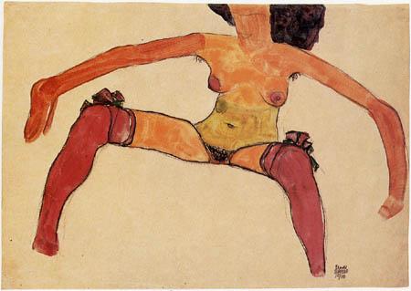 Egon Schiele - Sitzender Akt mit roten Strümpfen