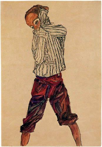 Egon Schiele - Stehender Knabe in gestreiftem Hemd