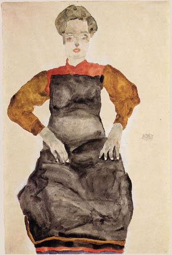 Egon Schiele - Sitzendes Mädchen mit Schürze