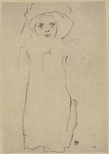 Egon Schiele - Dame mit Hut und Mantel