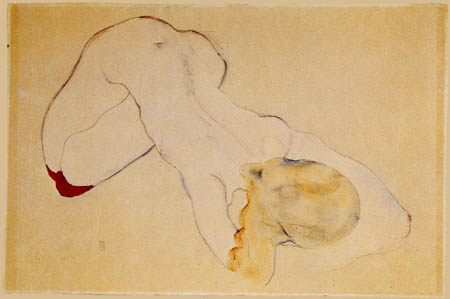 Egon Schiele - Nude with red stockings