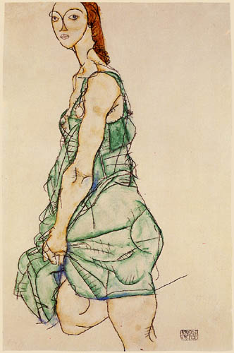 Egon Schiele - Woman in a green shirt