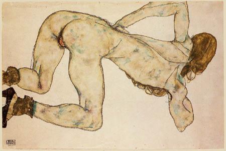 Egon Schiele - Gebeugter Akt