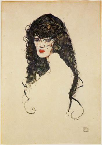 Egon Schiele - Woman with black hair
