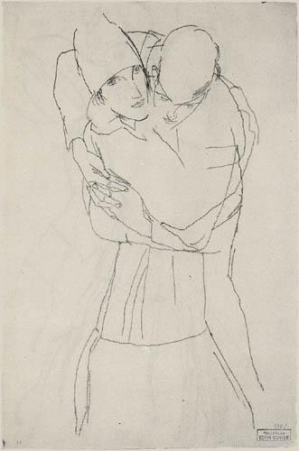 Egon Schiele - Sich umarmendes Paar