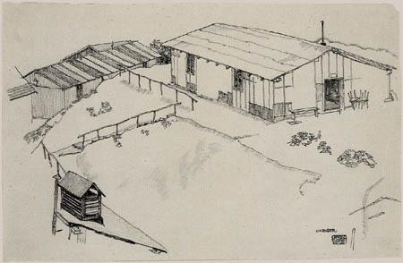 Egon Schiele - Haus mit Schuppen