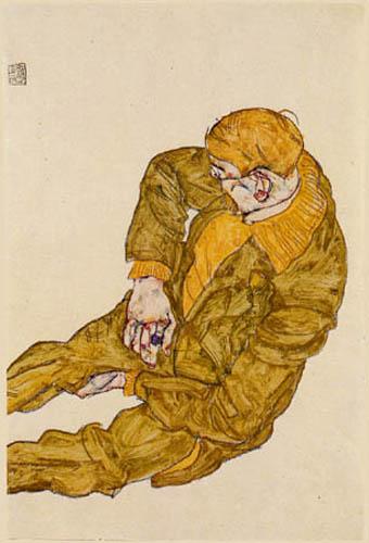 Egon Schiele - Sitzender Mann in orangenem Pullover