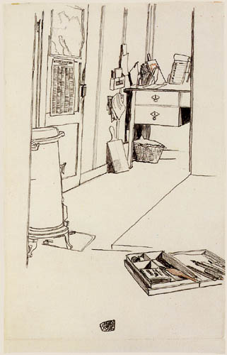 Egon Schiele - A writing desk in Mühling