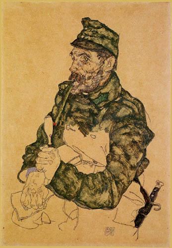 Egon Schiele - Österreichischer Soldat mit Pfeife