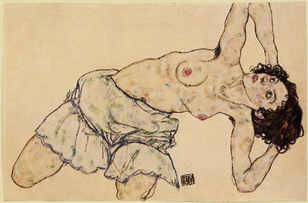 Egon Schiele - Kniender Halbakt, nach links gebeugt