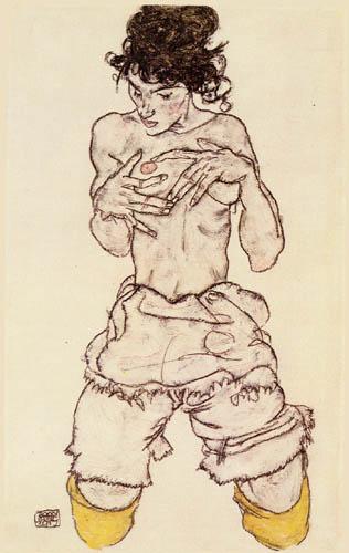 Egon Schiele - Kniender Halbakt