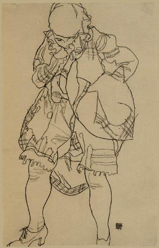 Egon Schiele - Stehende mit aufgehobenem Rock