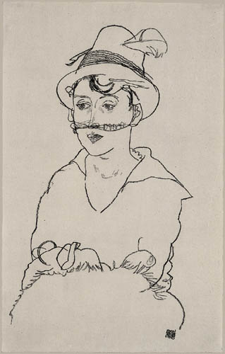 Egon Schiele - Edith Schiele with hat and veil