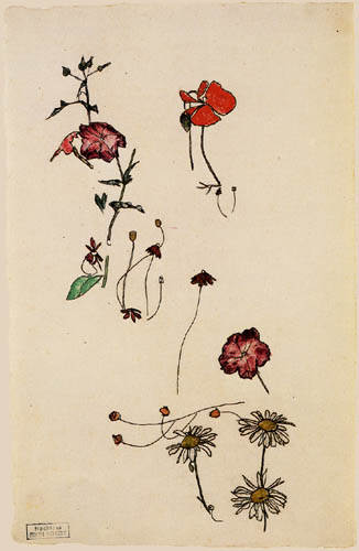 Egon Schiele - Study of flowers