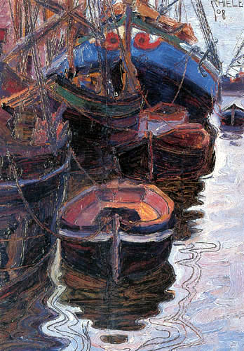 Egon Schiele - Boats in the port of Triest