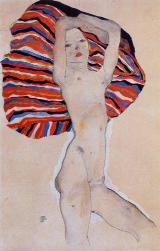 Egon Schiele - Akt gegen farbigen Stoff