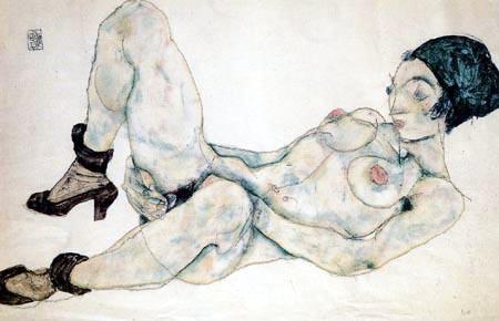 Egon Schiele - Lying Nude with a Green Hood