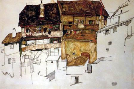 Egon Schiele - Old houses in Krumau