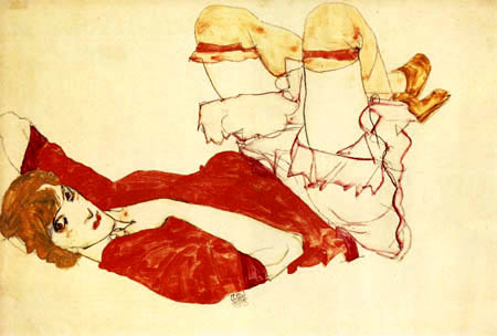 Egon Schiele - Wally with red blouse