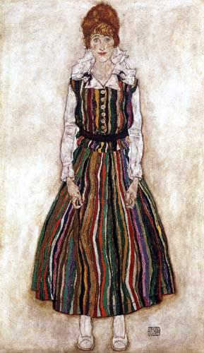 Egon Schiele - Edith Schiele in gestreiftem Kleid