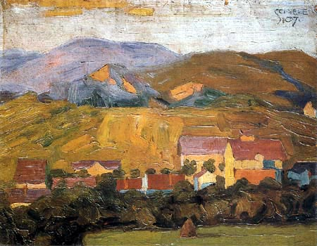 Egon Schiele - Village in the mountains