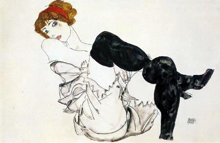 Egon Schiele - Woman in black stockings, Valerie Neuzil