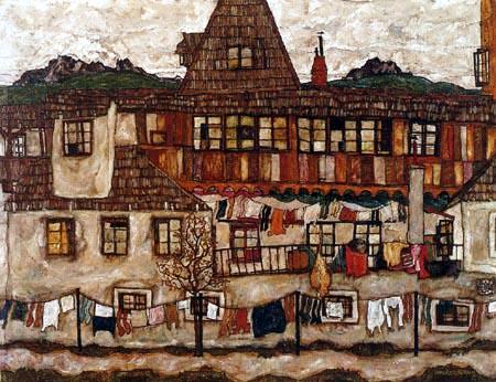 Egon Schiele - House with laundry