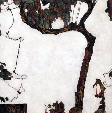 Egon Schiele - Herbstbaum mit Fuchsien