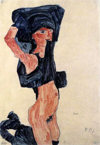 Egon Schiele - Kniendes Mädchen, sich den Rock über den Kopf ziehend