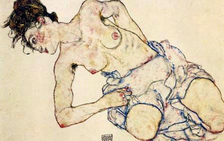 Egon Schiele - Kniender, weiblicher Halbakt