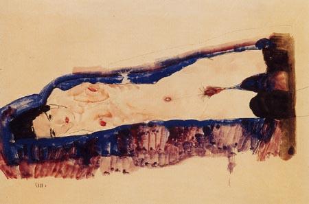 Egon Schiele - Liegender Akt in schwarzen Strümpfen