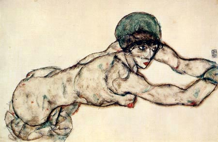 Egon Schiele - Liegender Frauenakt mit grüner Haube