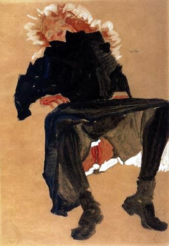 Egon Schiele - A Lying Girl