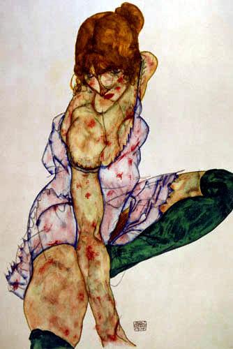 Egon Schiele - A blond girl with green socks