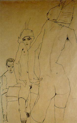 Egon Schiele - Nude before the mirror