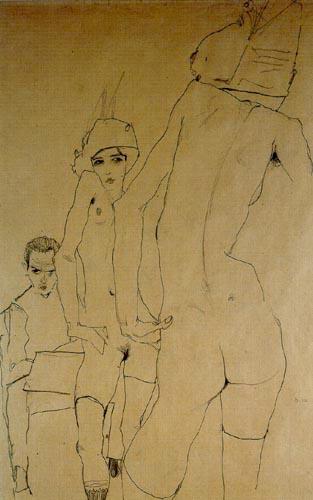 Egon Schiele - Schiele ein Aktmodell vor dem Spiegel zeichnend