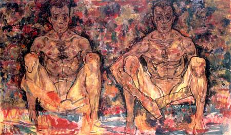 Egon Schiele - Hockendes Männerpaar