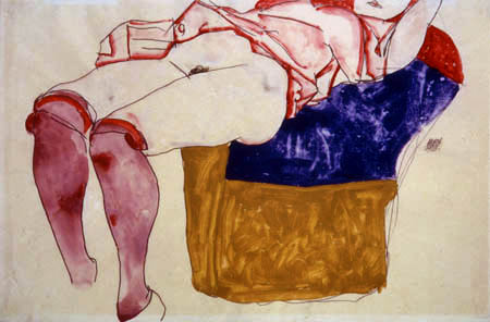 Egon Schiele - A woman with purple-colored stockings
