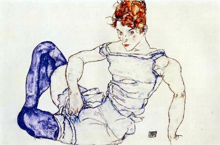 Egon Schiele - Seated Woman with violet stockings