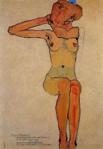 Egon Schiele - Sitzender weiblicher Akt