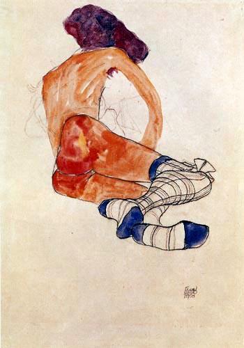 Egon Schiele - Sitzender weiblicher Akt mit blauem Strumpfband